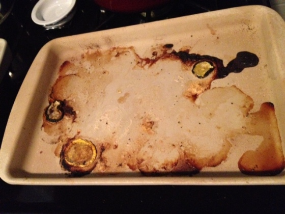 This is all that was left of the hummus-crusted chicken with zucchini and squash