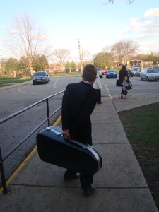 Lugging the instrument...