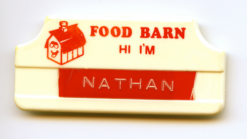 Food Barn pin from first paycheck job. / c. 1989
