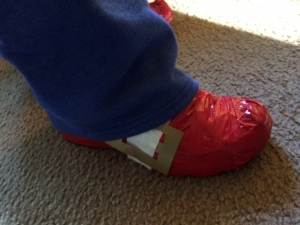 Our kick-butt Sonic shoe from last year's costume