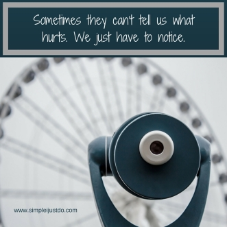 Sometimes, they can't tell us what hurts. We just have to notice.